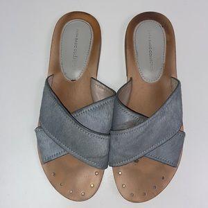 Zara   Criss Cross Sandals W/ Cow Hair 6.5